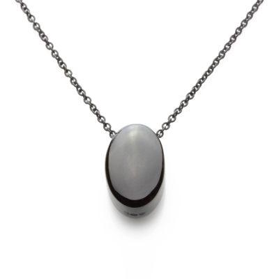 Oval-ruthenium-plated-pendant
